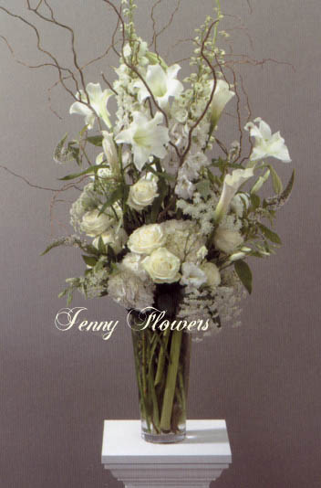 {White Vase Arrangement with White Longiflorum Lilies, Hydrandra, White Veronica, Hybrid Delphinium, Queen Anne's Lace, White Stock, Avalanche Roses, and Calla Lillies}