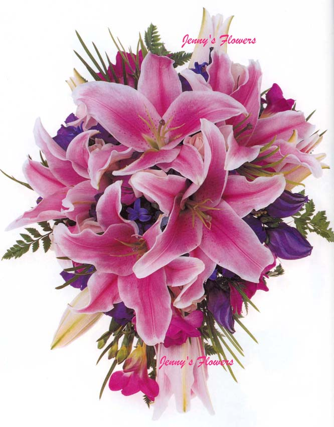 {Teardrop bouquet with Oriental Lillies, purple Lisianthus, hot pink Freesia, blue Hyacinths, candy pink Roses, and Fern}