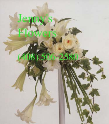 {Stylish Bouquet with Easter Lilies, white roses, and variegated ivy}