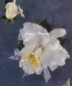 {boutonniere $7 with white rose and Stephanotis and Corsage $ made with white Cattleya Orchid}