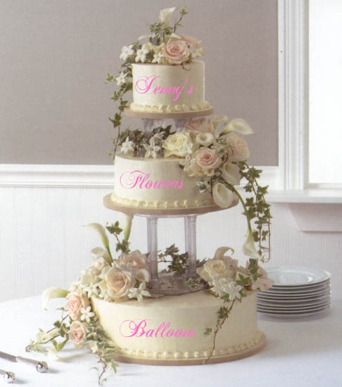 {Cake with paster flowers for wedding cake}