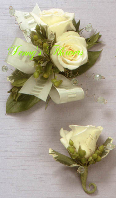 {White Rose Corsage with crystal and green ribbon}