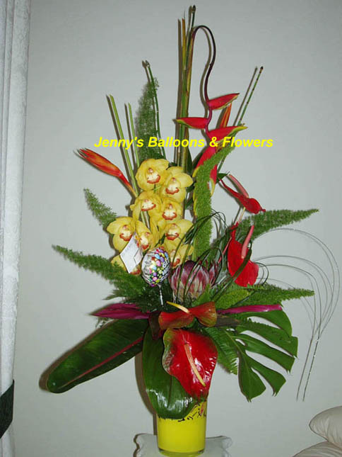 {Exotic flowers are combined to create lovely contemporary treatment of Oriental designs.}