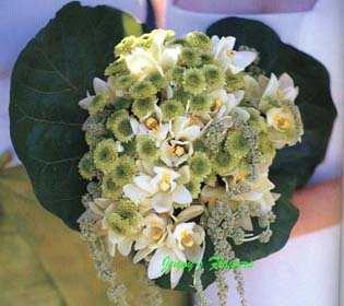 {Bridal Bouquet with Cymbidium Orchids, pearly Amaranth, and Chrysanthemums of misty green }
