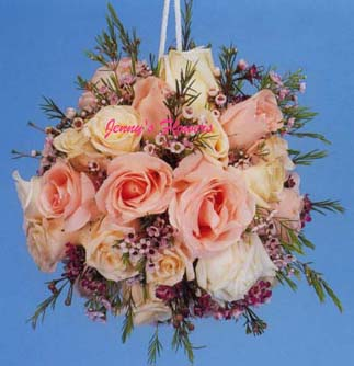 {Beautiful Pommander with 30-48 pastel roses and waxflower for only $40}