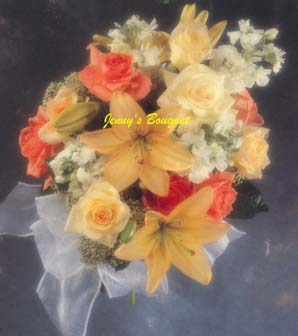 {Beautiful Round-Style Bouquet with Champagne and Sonia Roses, Peach Lilies, White Stock, and Queen Anne's Lace.}