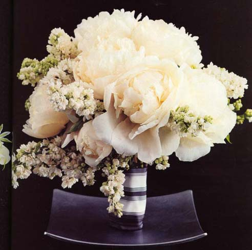 {For formal wedding with white Peonies and double white lilacs.}