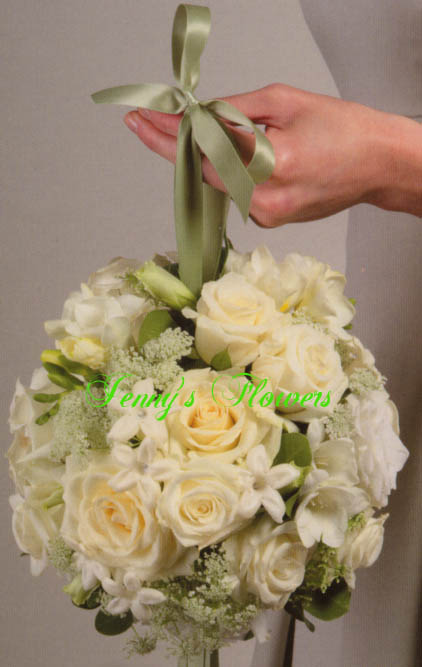 {White Rose Pommander with Akito Roses, Igloos Roses, 10 Stephanotis, Queen Anne's Lace, White Freesia, and White Lisianthus}