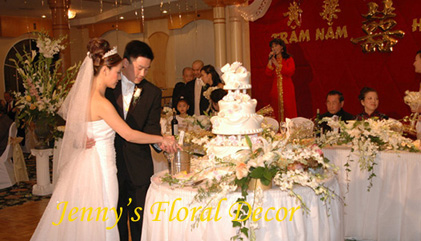 {Bride and Groom cut the cake}