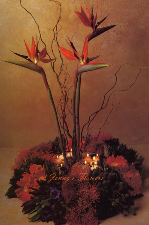 {Bird of Paradise with floating candles}