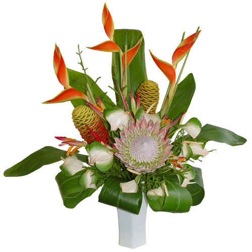 {Conteporary Bouquet with Anthurium , Ginger, and Foliages}