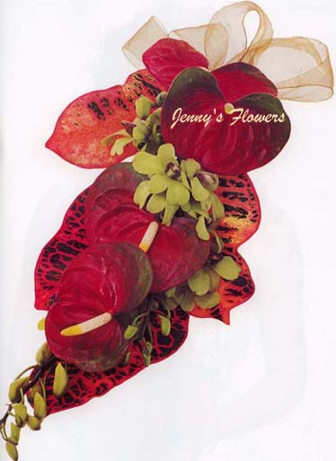 {Conteporary Bouquet with Anthurium and Foliages }