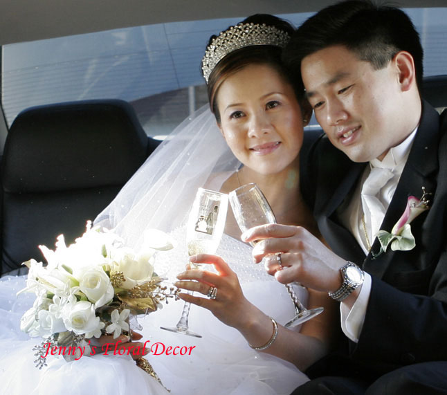 {Groom and Bride in Limousine}
